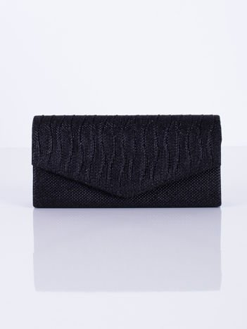 Błyszcząca kopertówka z falowanymi plisami czarna
