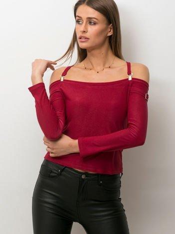 Bordowa bluzka z ozdobnymi paskami
