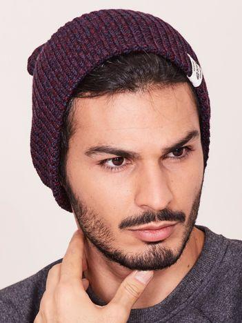Bordowa czapka męska melanżowa