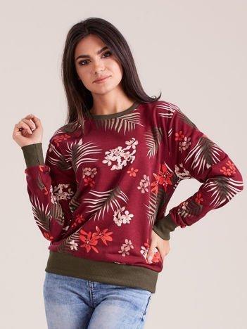 Bordowa damska bluza z nadrukiem