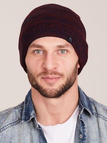 Bordowa melanżowa męska czapka beanie