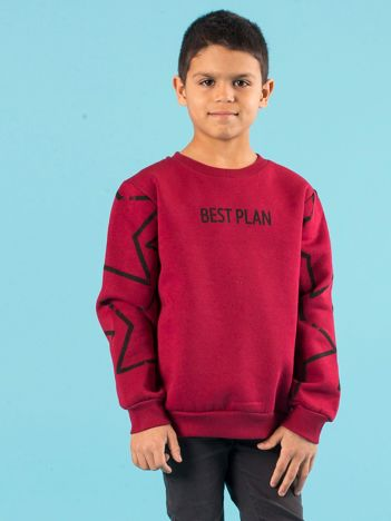Bordowa ocieplana bluza dziecięca z nadrukiem