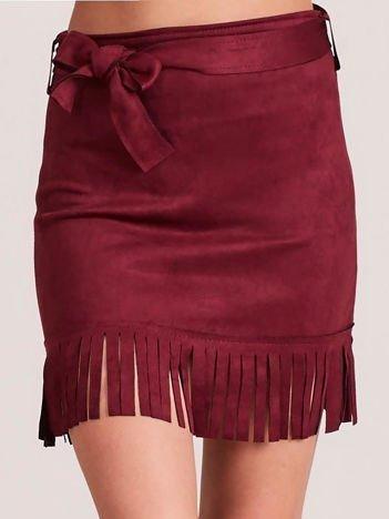 Bordowa spódnica z frędzlami