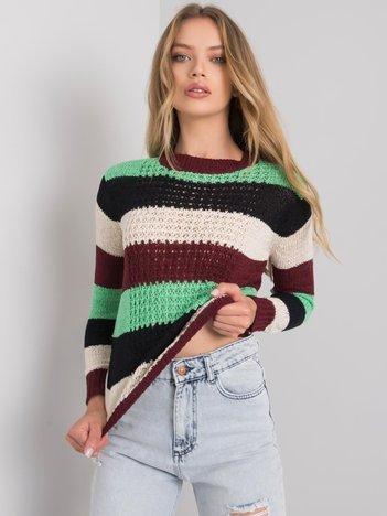 Bordowo-zielony sweter w pasy