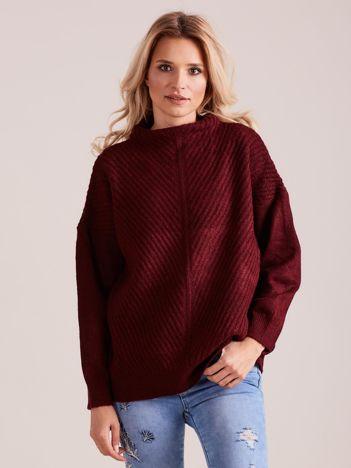Bordowy dzianinowy sweter damski