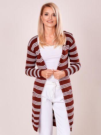 Bordowy otwarty sweter w prążek