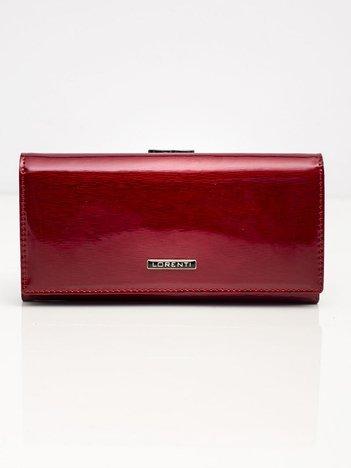 Bordowy podłużny portfel skórzany