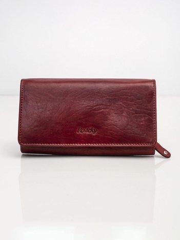 Bordowy skórzany portfel podłużny