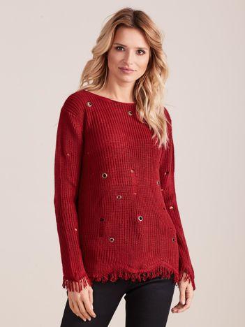 Bordowy sweter z frędzelkami i oczkami