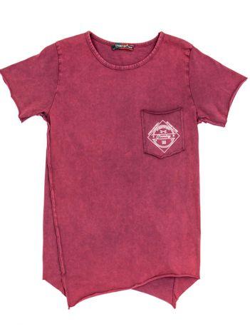 Bordowy t-shirt dziecięcy z surowym wykończeniem i nadrukiem z tyłu