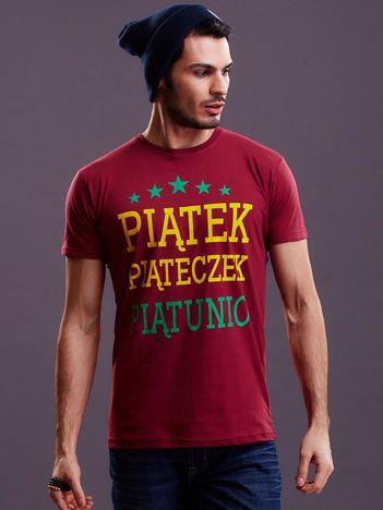 Bordowy t-shirt męski PIĄTEK PIĄTECZEK