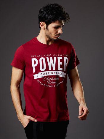 Bordowy t-shirt męski Power