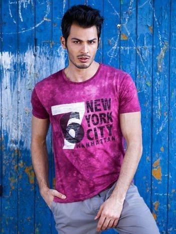 Bordowy t-shirt męski z nadrukiem