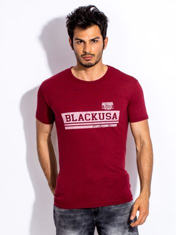 Bordowy t-shirt męski z poziomym napisem
