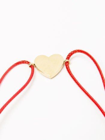 Bransoletka damska na czerwonym sznurku z celebrytką serduszko pozłacana 14-karatowym złotem