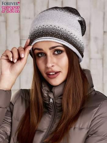 Brązowa czapka ze srebrną nitką
