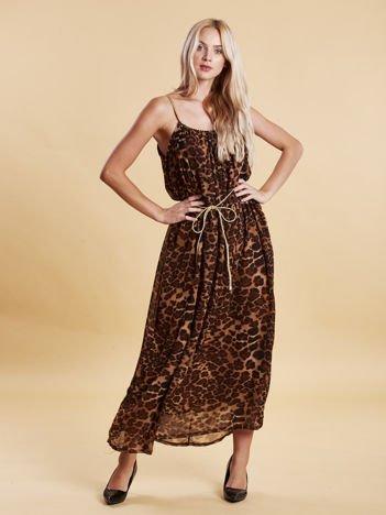 Brązowa panterkowa sukienka maxi na złotych ramiączkach