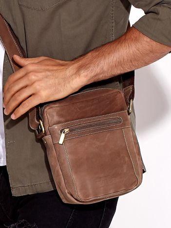Brązowa skórzana torba męska