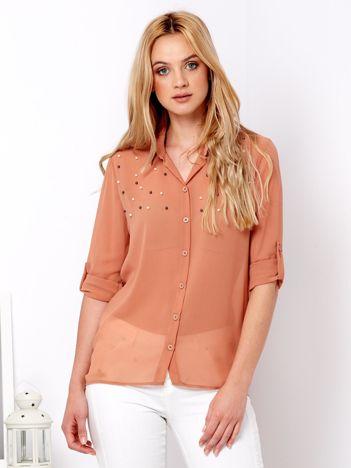Brązowa szyfonowa koszula z perełkami