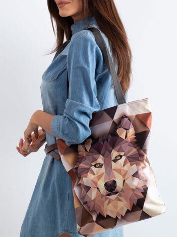 Brązowa torba z nadrukiem wilka