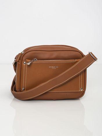 Brązowa torebka z zewnętrzną kieszenią