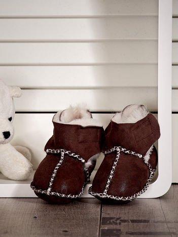 Brązowe ocieplane dziecięce buciki zimowe