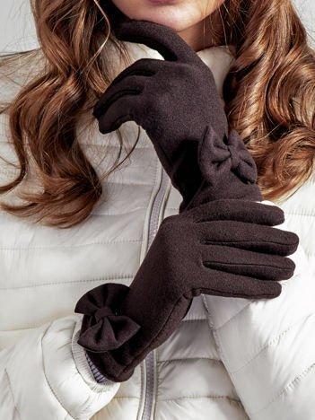 Brązowe rękawiczki damskie z kokardką