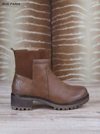 Brązowe skórzane botki faux leather na suwak, z traktorową podeszwą