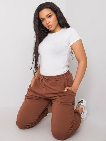 Brązowe spodnie dresowe plus size basic Ainhoa