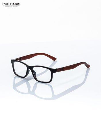 Brązowo-czarne okulary zerówki kujonki typu WAYFARER NERDY matowe