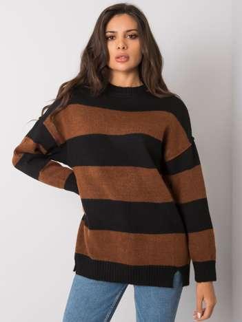 Brązowo-czarny sweter w paski Nine