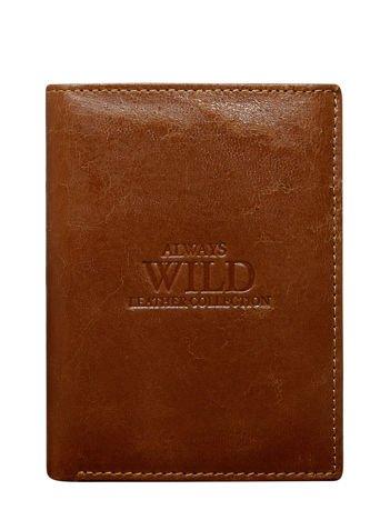 Brązowy pionowy portfel męski z tłoczeniem