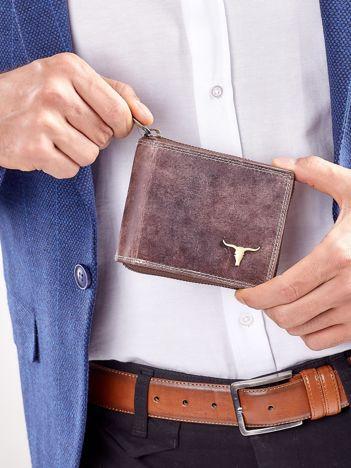 Brązowy portfel męski na suwak