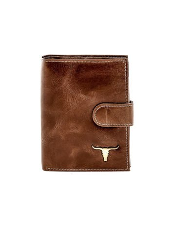 Brązowy portfel skórzany z cieniowaniem i zapięciem na zatrzask