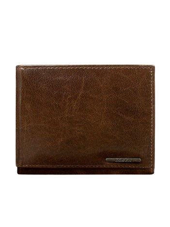 Brązowy skórzany portfel bez zapięcia dla mężczyzny