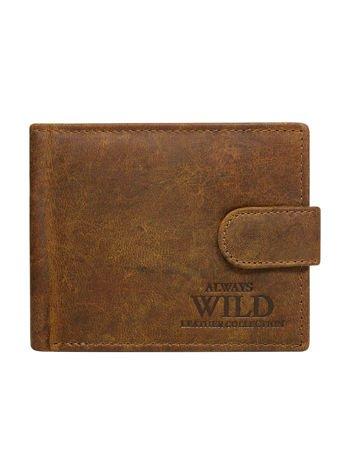 Brązowy skórzany portfel dla mężczyzny na napę