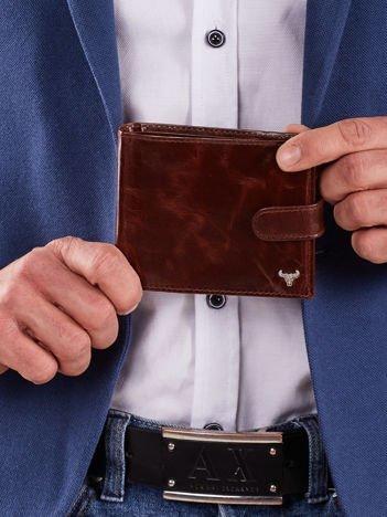 Brązowy skórzany portfel męski z klapką