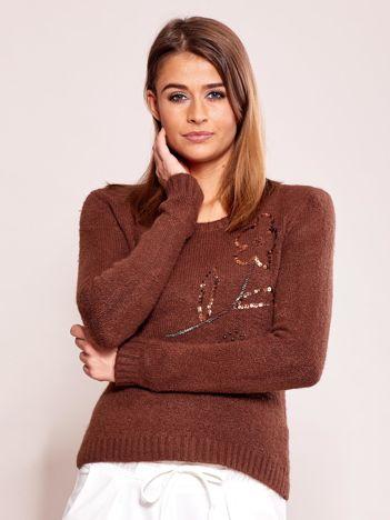 Brązowy sweter damski z cekinami