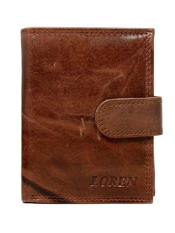 Brązowy zapinany portfel męski ze skóry