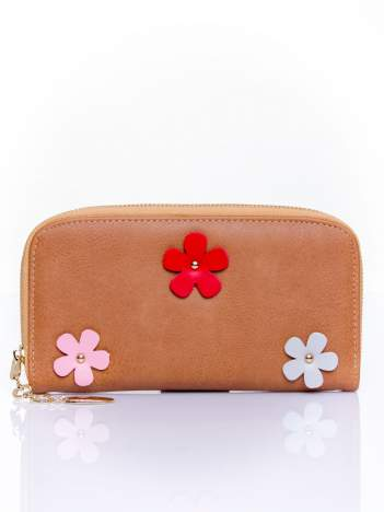 Brązowy zasuwany portfel w kwiatki