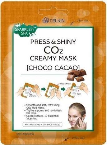 CELKIN Press & Shiny CO2 Creamy Mask KOREAŃSKA maseczka na twarz CZEKOLADA 10 g + 3 g