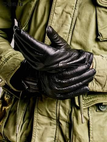 CERRUTI Czarne rękawiczki męskie z suwakami