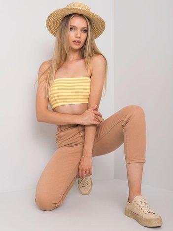 Camelowe jeansy high waist Araceli RUE PARIS