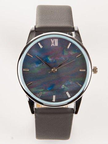Ciemno szary zegarek damski z perłową tarczą