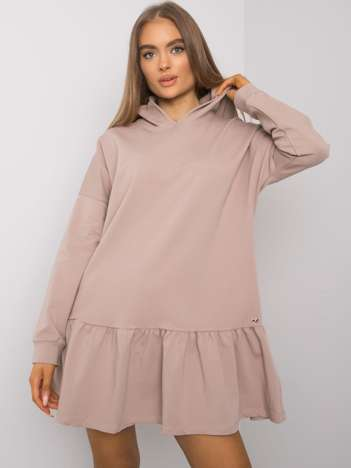 Ciemnobeżowa sukienka dresowa z kapturem Aliye