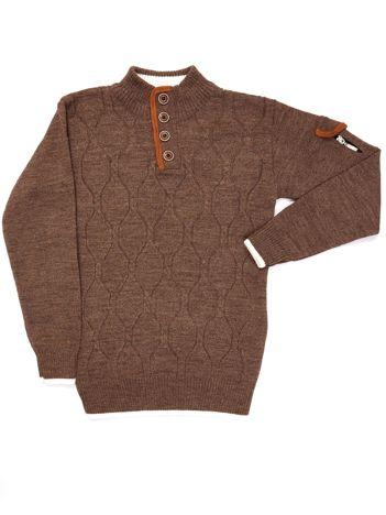 Ciemnobeżowy sweter dla chłopca w warkoczowe sploty