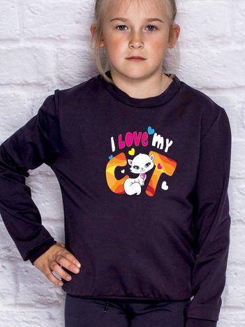 Ciemnogranatowa bluza dla dziewczynki I LOVE MY CAT