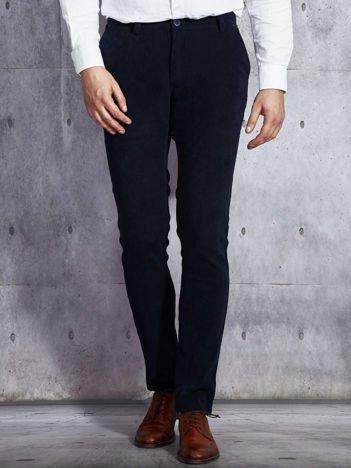 Ciemnogranatowe miękkie materiałowe spodnie męskie