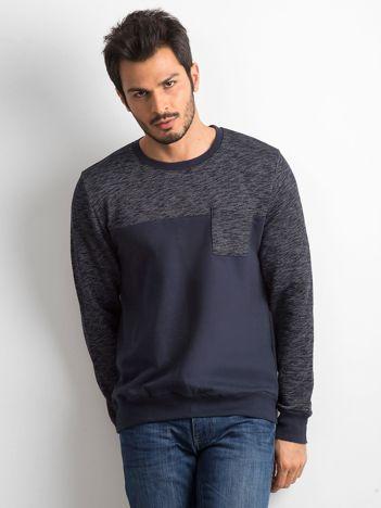 Ciemnoniebieska bawełniana bluza męska z kieszenią