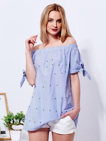 Ciemnoniebieska bluzka hiszpanka w paski z perełkami